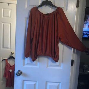 Beautiful burnt orange off the shoulder blouse